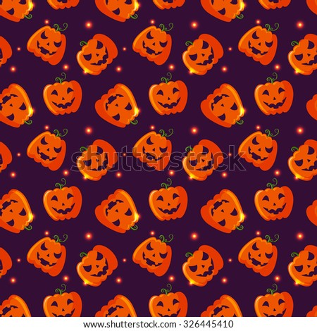 Happy Halloween! Colorful seamless pattern with pumpkins and sparkles. Raster background. - stock photo