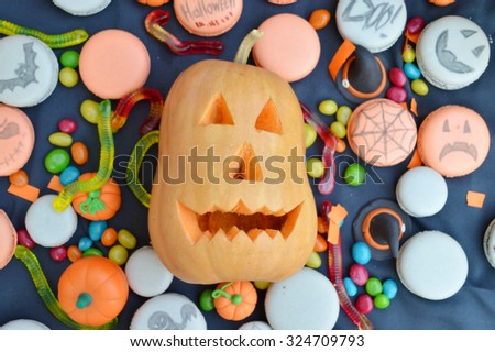 Happy Halloween Cupcakes.Halloween cookies.Composition for Halloween with sweets