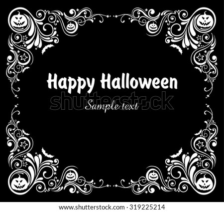 Happy Halloween! Frame isolated on black background. Celebration background with bat and place for your text.  illustration  - stock photo