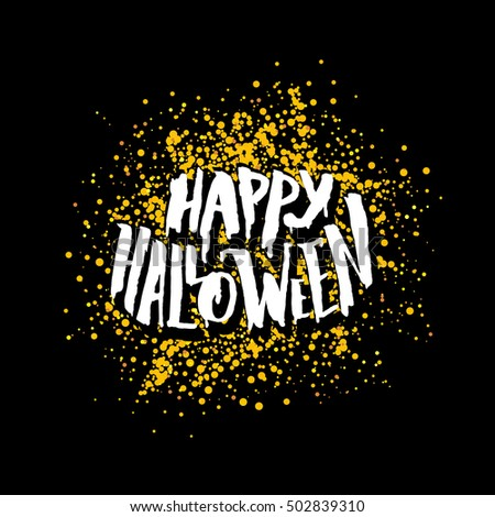 Charming Happy Halloween Greeting Card Design. Festive Banner For 31 October Night  Party With Lettering On