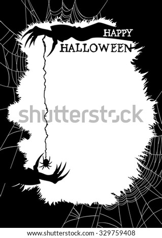 Happy Halloween greeting card or party flyer.  Halloween background with copy space. Sinister silhouettes of hands, a spider and a spider web. Handmade text is my own design.