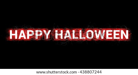 HAPPY HALLOWEEN -  Headline. Artistic illustration with red paint-splatters and scratches on black background and white big, bold letters.