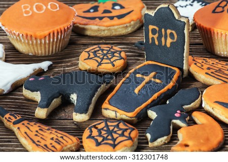 happy Halloween homemade cookies. Focus on biscuits grave - stock photo