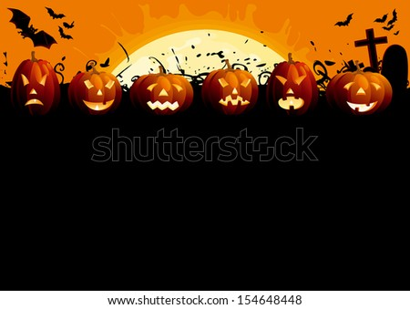 Happy Halloween. Many glowing halloween pumpkins, tree, grave stone and many flying  bats on  abstract background with big moon.  - stock photo