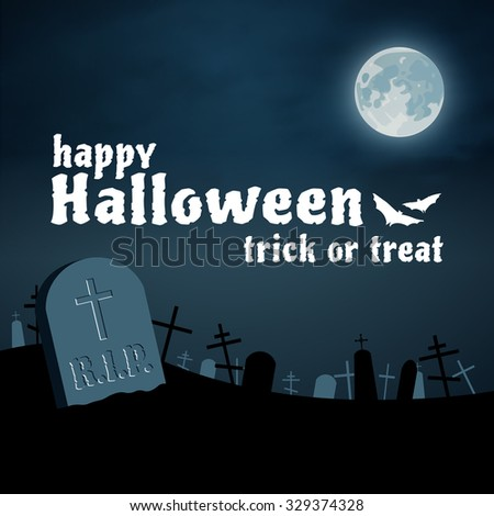 Happy Halloween night cemetery background, moon and tomb - stock photo
