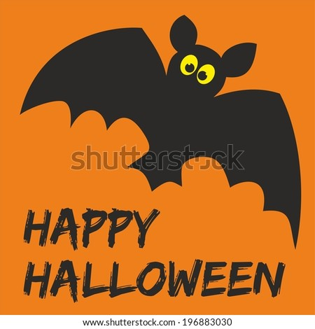 Happy Halloween party card with bat and hand drawn wishes - stock photo