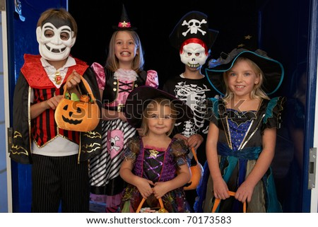 happy halloween party with children trick or treating - Happy Halloween Costume