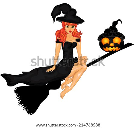 Happy Halloween Poster with witch and pumpkins.. Halloween banner .