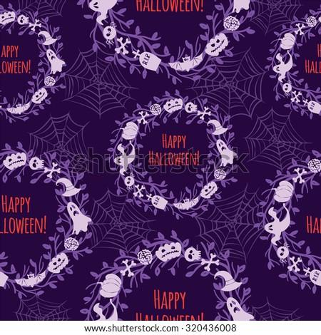 Happy Halloween. Seamless vector background. - stock photo