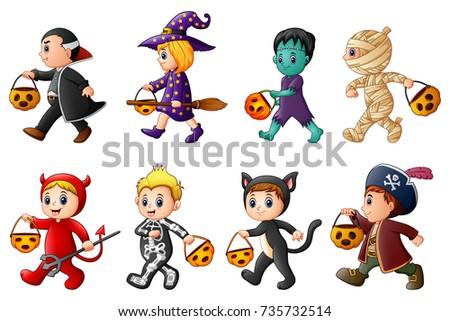 happy halloween set of cute cartoon children in halloween costumes