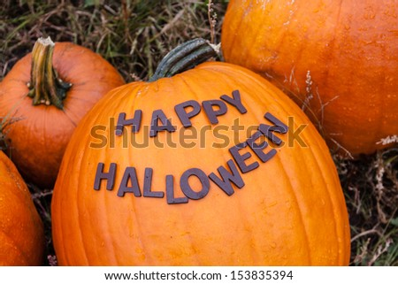 Happy Halloween spelled out on large orange pumpkin - stock photo