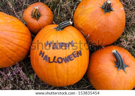 Happy Halloween spelled out on pumpkin - stock photo