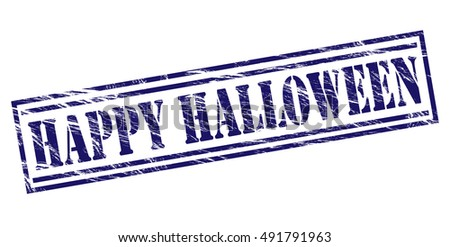 happy halloween stamp on white background