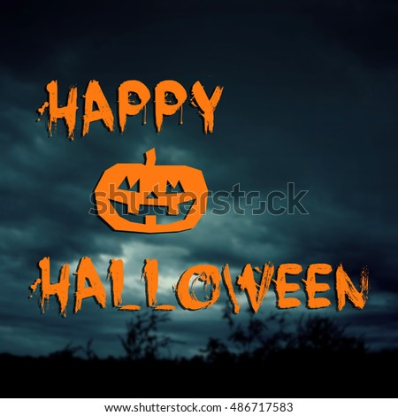 Happy Halloween text with blurred background