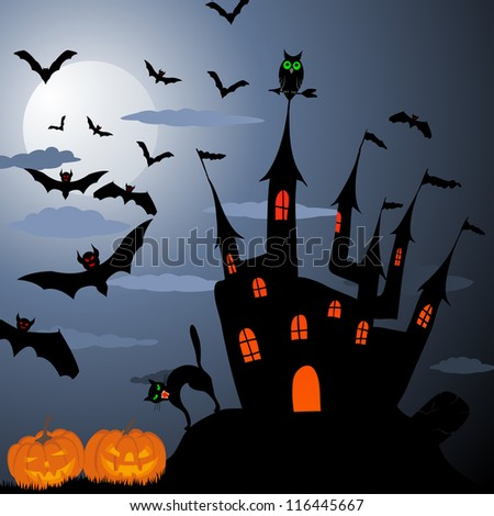 Happy halloween theme greeting card.  Raster version.