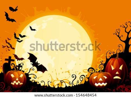 Happy Halloween. Three glowing halloween pumpkins, tree, graveyard, grave stone and many flying  bats on  abstract background with big moon.  . - stock photo