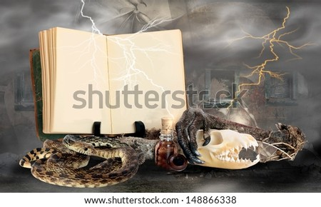 Happy Halloween Witches Potion Book with Blank Pages and Room for Your Text with some Ingredients for a Bubbly Halloween Brew - stock photo