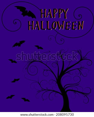 happy halloween with bats design - stock photo
