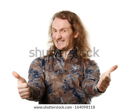 Happy handsome man showing thumbs up over isolated background