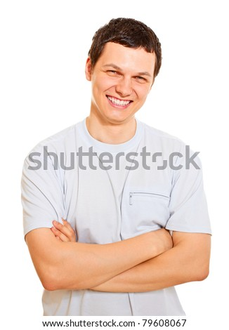 Happy handsome man wearing white t-shirt isolated on a white background