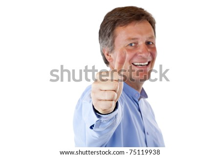 Happy, handsome old senior man showing thumb up. Isolated on white background. - stock photo