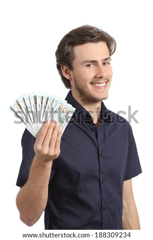 Happy handsome young entrepreneur holding money isolated on a white background