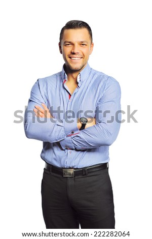 Happy handsome young man isolated on white background - stock photo