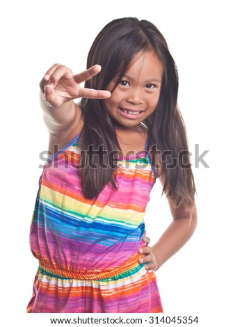 Happy Hawaiian Girl with an open mouth grin peace sign   Image isolated on white  - stock photo