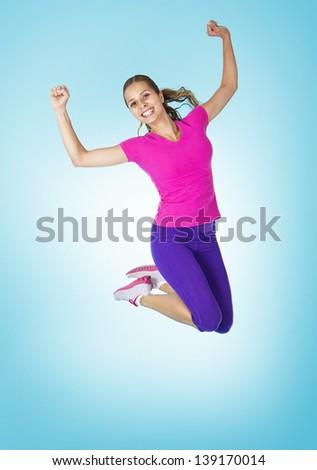 Happy Healthy Hispanic Fitness Woman - stock photo