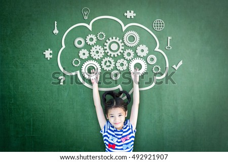 Happy healthy smart girl child kid raising boost engineering gears mind mapping in cloud icon graphic doodle on green chalkboard background: World mental health day awareness campaign idea concept: