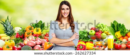 Happy healthy Woman losing weight. Health and diet