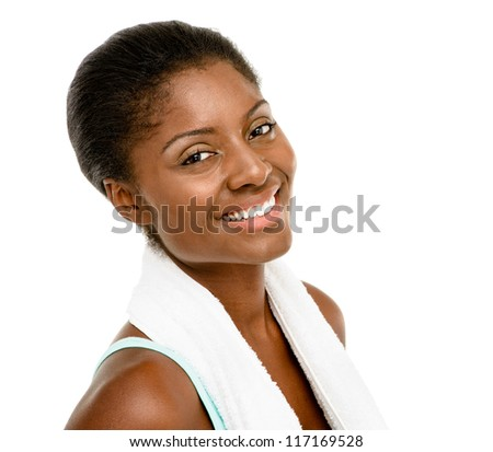 Happy healthy young black woman wearing gym clothes isolated on white background - stock photo