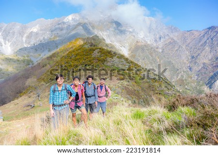 Happy Hikers at Top of Mountain