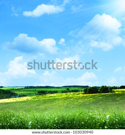 happy hills. summer landscape under blue skies