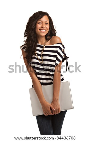 Happy Hispanic Teenager Casual Dressed  Holding Laptop on Isolated White Background - stock photo