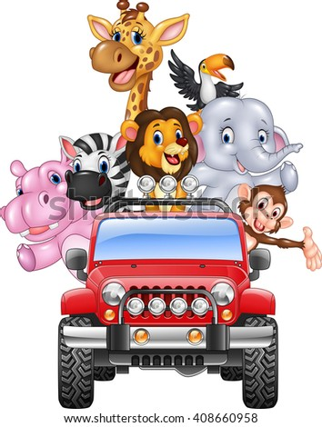 Happy holiday animal africa in the red car - stock photo