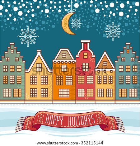 Happy holidays. Merry Christmas. Christmas card. Christmas greeting. Winter. Raster illustration. Best for greeting cards, invitations. - stock photo