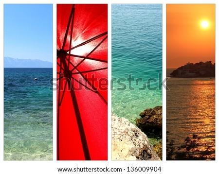 happy holidays postcard photo set - stock photo