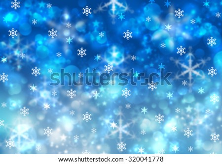 Happy Holidays wallpaper with bokeh effect and blurred defocused snowflakes. Merry Christmas greeting card concept. Magic Christmas lights sparkling snow background. Elegant blue winter postcard. - stock photo