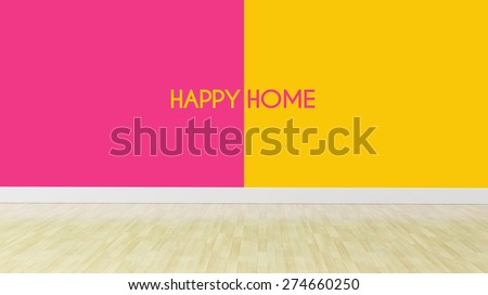 happy home concept, dual color walls with wooden flooring - stock photo