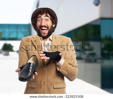 happy homeless man with shoes - stock photo