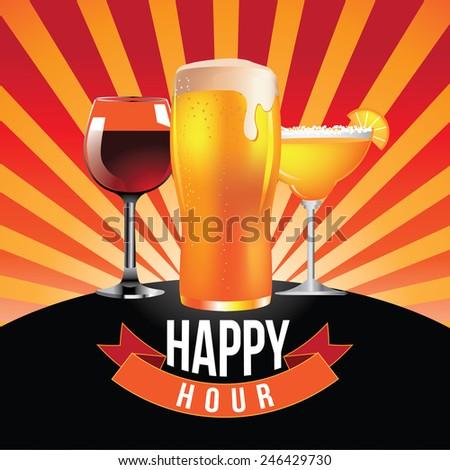 Happy hour burst design royalty free stock illustration - stock photo