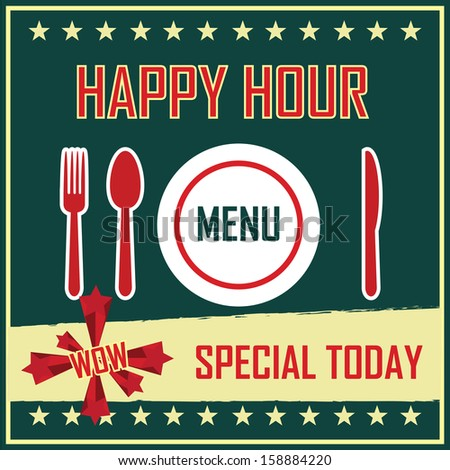 Happy Hour Collection: set of various design for food and drink - jpg format.