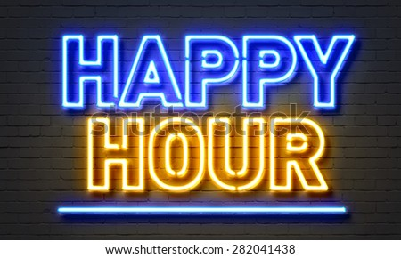 Happy hour neon sign on brick wall background - stock photo