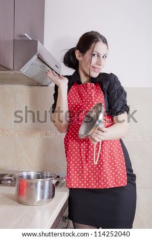 Happy housewife - stock photo