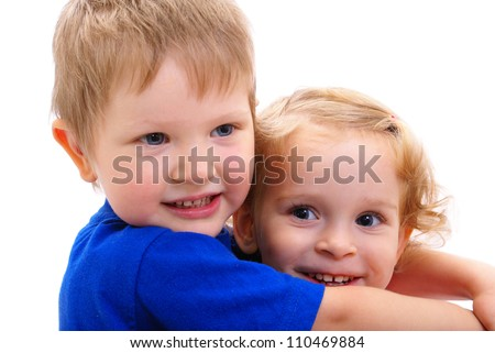 happy hugging kids