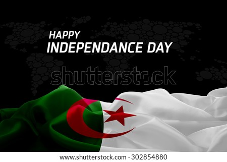 Happy Independence Day Algeria flag and World Map background - stock photo