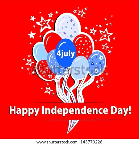 Happy independence day card. Celebration red background with balloon, stars and place for your text.   illustration