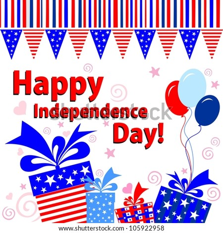 Happy Independence Day! Celebration background with gift boxes and place for your text.  illustration