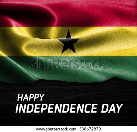 Happy Independence Day Ghana flag on wood Texture background - stock photo
